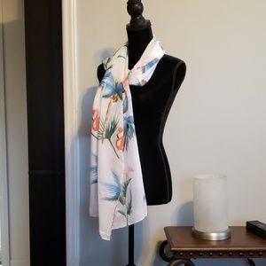 White tropical flamingo print light scarves